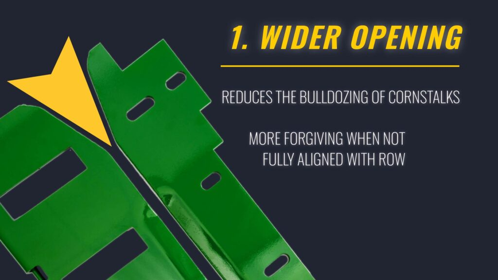 Wider Opening in Corn Head Stripper Plate for Better harvesting