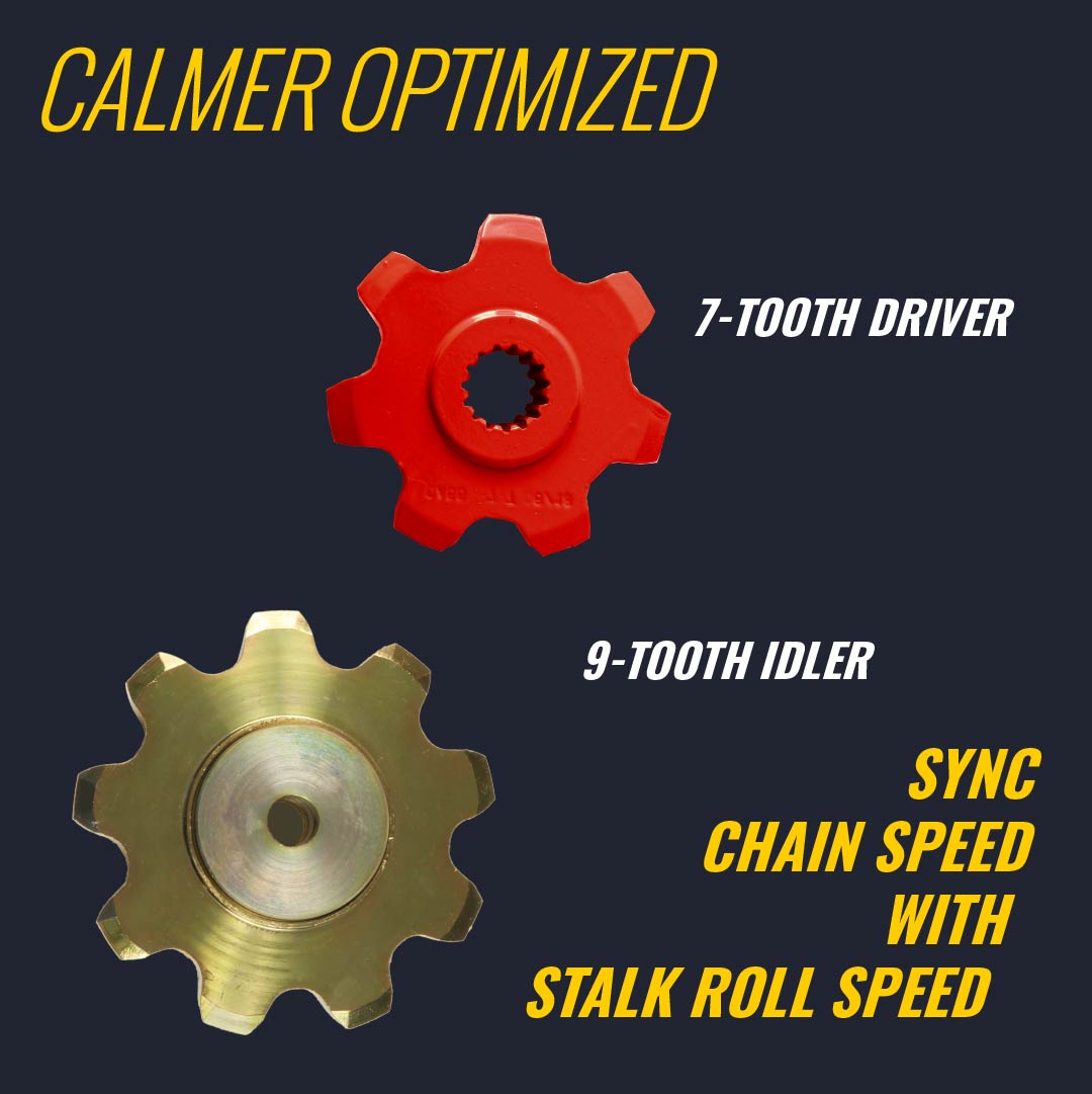 gathering chain speed modifying sprockets