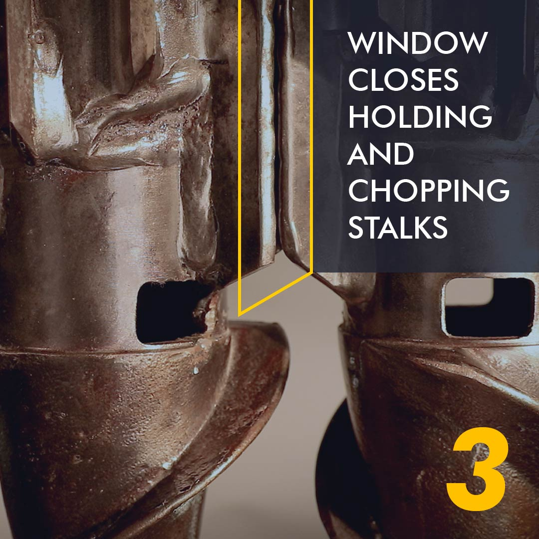 window closes with wear bars crushing and holding stalks