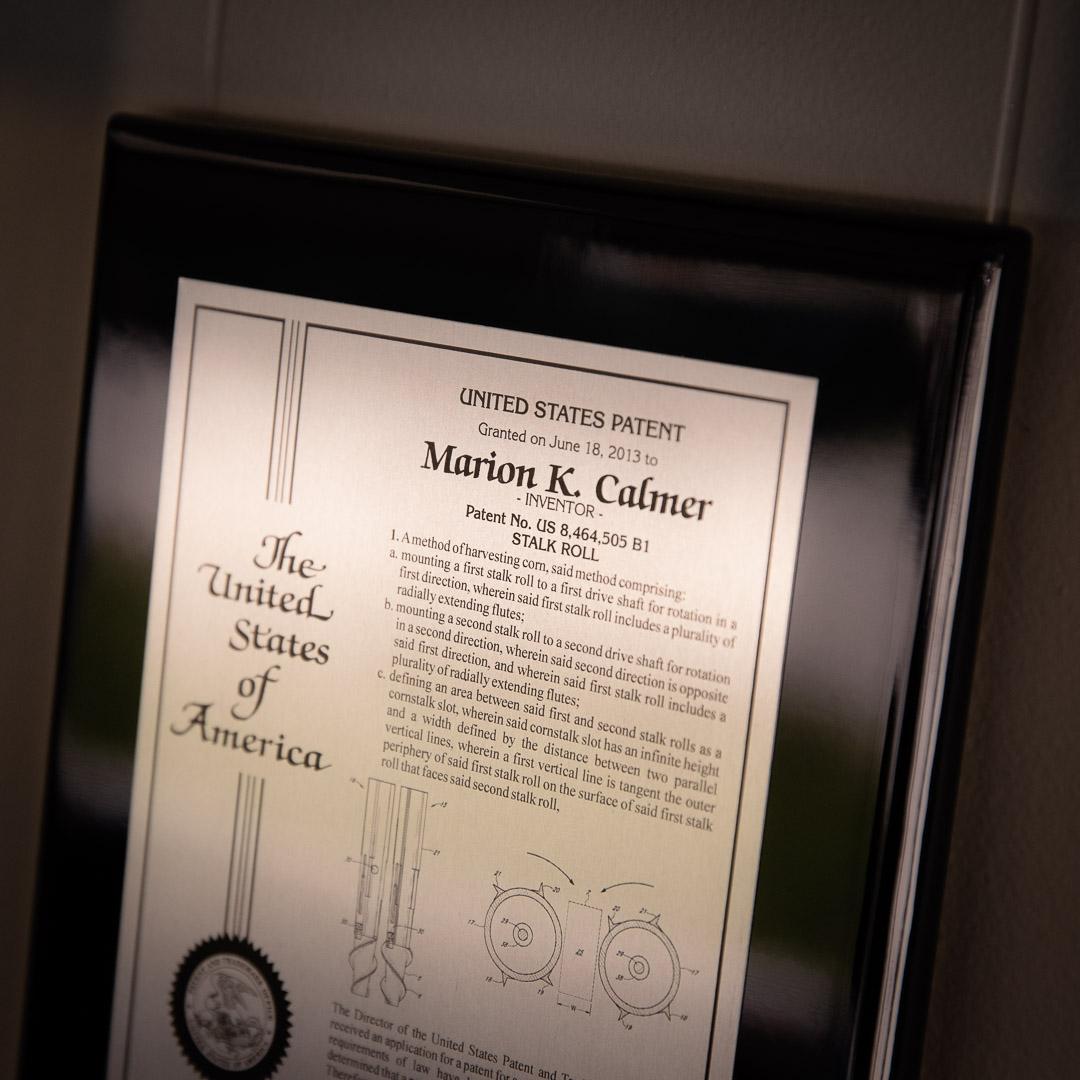 marion calmer us patent holder for stalk rolls